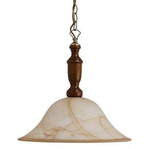 Pendelleuchte, Metall in Bronze, Holz in Walnuss mit Alabasterglas