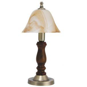 Tischleuchte, Metall in Bronze, Holz in Walnuss mit Alabasterglas