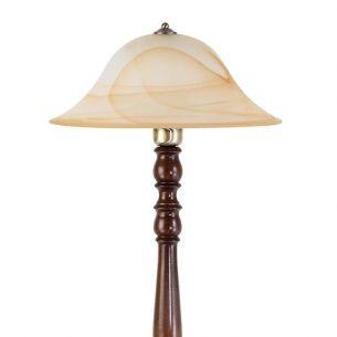 Stehleuchte, Metall in Bronze, Holz in Walnuss mit Alabasterglas
