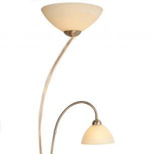 Rustikale Leuchtenserie - Stehleuchte 2-flammig - Glas creme - Bronzefarben