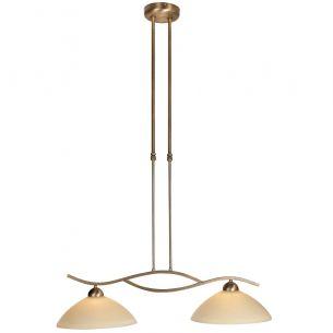 Rustikale Leuchtenserie - Pendelleuchte 2-flammig - Glas creme - Bronzefarben