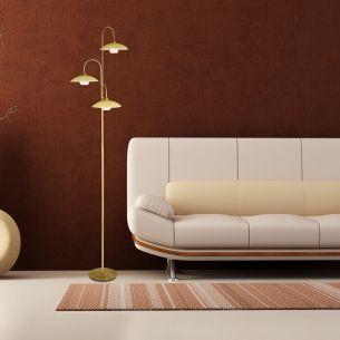 Stilvolle Leuchtenserie - Stehleuchte 3-flammig - Stahl - Glas -  Farben - Bronze - Stahl