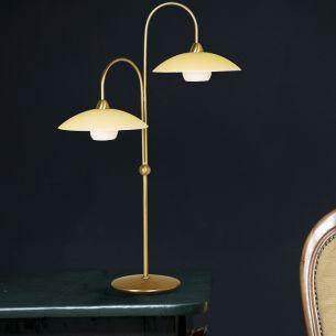 Stilvolle Leuchtenserie - Tischleuchte 2-flammig - Stahl - Glas - 3 Farben - Braun - Bronze - Stahl