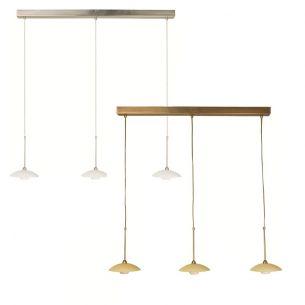 Stilvolle Leuchtenserie - Pendelleuchte 3-flammig - Stahl - Glas - 2 Farben - Bronze - Stahl