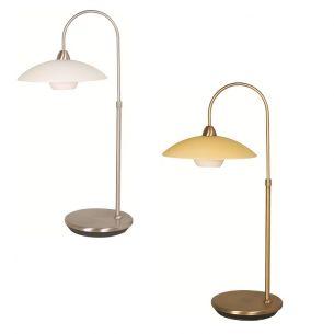 Stilvolle Leuchtenserie - Tischleuchte 1-flammig - Stahl - Glas - 2 Farben - Bronze - Stahl