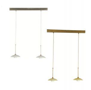 Stilvolle Leuchtenserie - Pendelleuchte 2-flammig - Stahl - Glas - 2 Farben - Bronze - Stahl