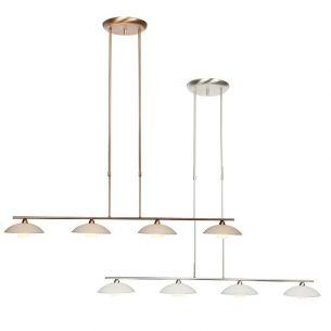 Stilvolle Leuchtenserie - Pendelleuchte 4-flammig - Höhenverstellbar - Stahl - Glas - 2 Farben - Bronze - Stahl