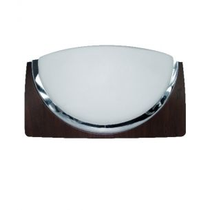 Wandleuchte Wengeholz-Optik, Opalglas und Chrom