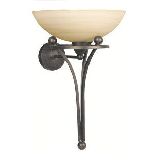 Rustikale Wandlampe mit antikem Touch - Wandleuchte in Fackeloptik - Stahl - Glas creme mit dunklen Schlieren durchzogen - Braun