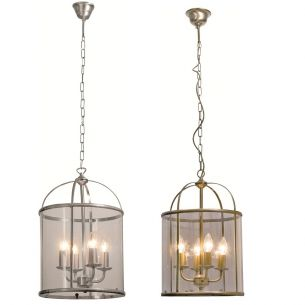 Rustikale Leuchtenserie - Pendelleuchte 4-flammig - Stahl - Glas klar - 2 Farben - Bronze oder Stahl