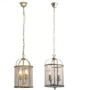 Rustikale Leuchtenserie - Pendelleuchte 2-flammig - Stahl - Glas klar - 2 Farben - Bronze oder Stahl