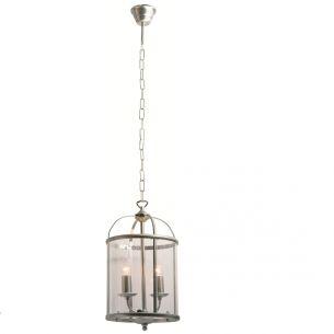 Rustikale Leuchtenserie - Pendelleuchte 2-flammig - Stahl - Glas klar - 2 Farben - Stahlfarbig 2x 40 Watt, stahlfarbig