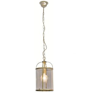 Rustikale Leuchtenserie - Pendelleuchte 1-flammig - Stahl - Glas klar - 2 Farben - Bronzefarben bronze