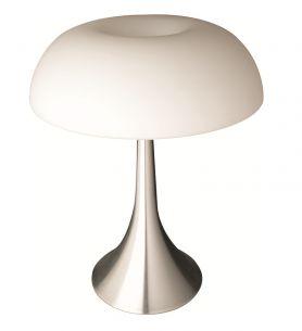 Formschöne Tischleuchte - Stahl gebürstet - Glas weiss satiniert