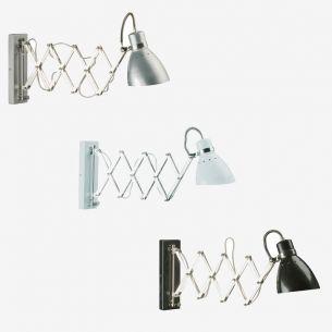 Leuchtenserie im Retrodesign - Wandleuchte mit Akkordeonarm - Stahl - 3 Farben - Weiss - Stahlfarbig - Schwarz