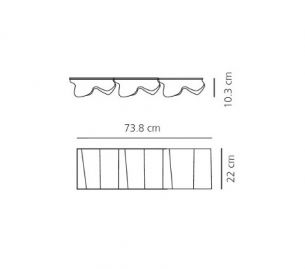 3x 52 Watt, 22,00 cm, 73,80 cm, 10,30 cm