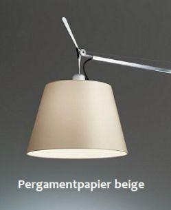 TOLOMEO BASCULANTE LETTURA mit Schirm aus Pergamentpapier Aluminium/Papier, beige/aluminiumfarben