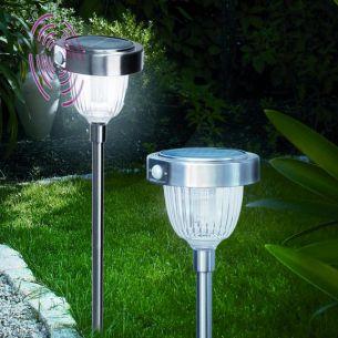 LED Solarleuchte mit Bewegungsmelder, Orientierungslicht, bei Bewegung helles Licht