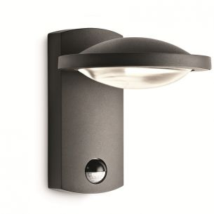Hochwertige LED-Außen-Wandleuchte mit Streulinse - Mit Bewegungssensor - Aluminium - Anthrazit