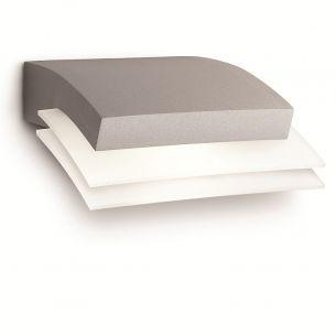 Kompakte LED-Außen-Wandleuchte - Aluminium - Kunststoff - grau