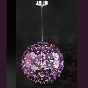 Pendelleuchte als Blütenball in Chrom mit Blüten in purpur und Acryl-Glas, Durchmesser 35cm