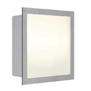 Quadratische Außen Wandeinbauleuchte mit satiniertem Glas