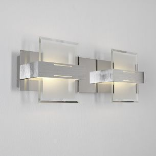 LED-Wandleuchte aus Aluminium, Chrom und Glas, 2-flammig