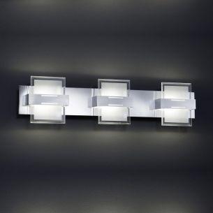 LED-Wandleuchte aus Aluminium, Chrom und Glas, 3-flammig