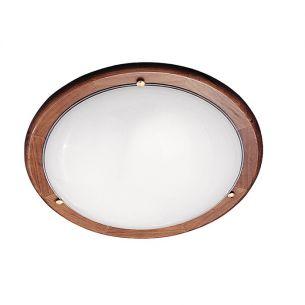 Deckenleuchte mit Eichenholz und Opalglas in 38cm Durchmesser 2x 60 Watt, 38,00 cm