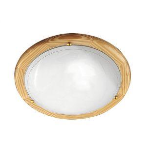 runde Holzleuchte mit Opalglas, als Wandleuchte oder Deckenleuchte geeignet, 38cm Durchmesser 2x 60 Watt, 38,00 cm