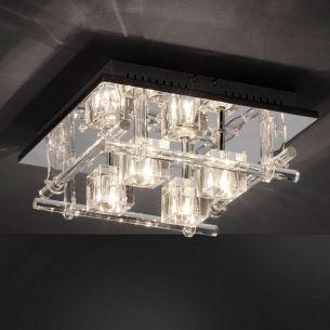 Deckenleuchte mit 24 blauen LEDs und Fernbedienung, Kristallglas klar