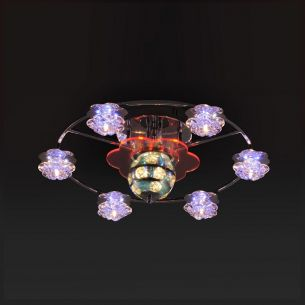 Deckenleuchte mit LED-Discokugel inkl. 8x 20W G4 + 6x RGB-LEDs