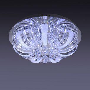 Deckenleuchte in Chrom mit LED-Lichtern und Glasbehang  inkl. 10x 14W G4
