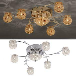 Deckenleuchte mit  LED-Lichtern in Chrom oder Messing-poliert inkl. 8x 20W G4