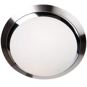 Klassisch moderne Wand- oder Deckenleuchte - Rund - Stahl gebürstet - Chrom - Glas weiss matt - 31 cm Durchmesser 2x 60 Watt, 31,00 cm