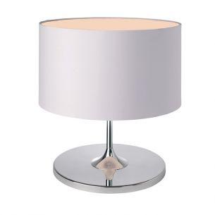 Tischleuchte Chrom mit außen weißem und innen beigefarbenem Stoffschirm