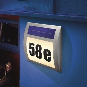 Solar Hausnummernleuchte, Edelstahlblende mit Kunststoff, Lichtfarbe kaltweiß 6000°K