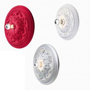 Gips-Leuchte 45cm für Decke oder Wand in Weiß, Silber oder Rot wählbar, inklusive kopfverspiegeltem Leuchtmittel