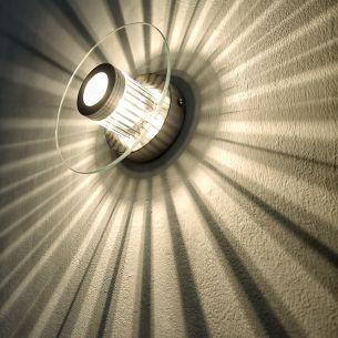 Wand- oder Deckenleuchte mit tollem Lichteffekt, Glas rund, inklusive Leuchtmittel