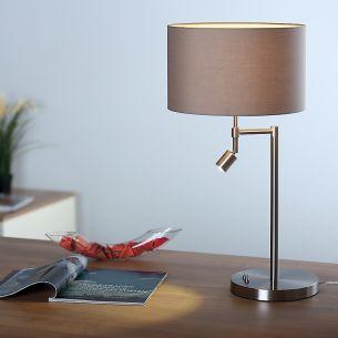 Tischleuchte in Nickel-matt mit grauem Stoffschirm Ø 30cm und LED-Licht