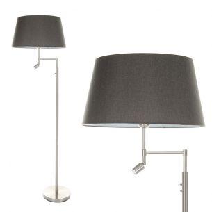 Stehleuchte in Nickel-matt mit grauem Stoffschirm Ø 45cm und LED-Licht