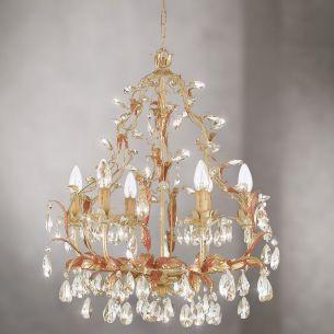 Meisterstücke aus Italien-Handgefertigter Kronleuchter mit geschliffenem Glas-oder Kristallbehang, 6-flammig