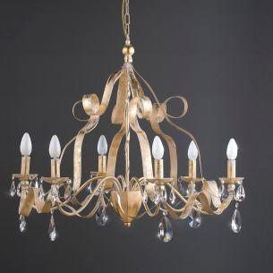 Luxuriöse Pendelleuchte - Eisen mit Blattgold und Bleikristallrispen - Wählbar in 2 Grössen: 6-flammig oder 4-flammig