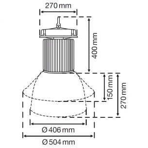 LED Hallenleuchte mit Reflektor 45° oder 120°, 200W Verbrauch, Lichtfarbe 4000K=weiß, IP65