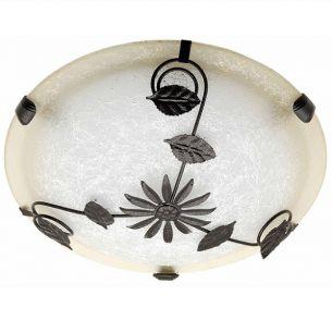 Deckenleuchte Glas Weiß braun mit braunen Metallverzierungen braun