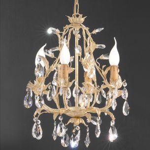 Handgemachter Kronleuchter im Florentiner-Stil - Made in Italy - 4-flammig - Wählbar mit Bleikristall- oder Glasbehang