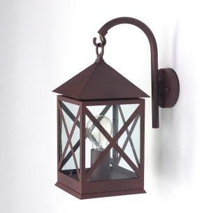 Außenlampe in rustikaler Laternenform mit rostfarbener Oberfläche