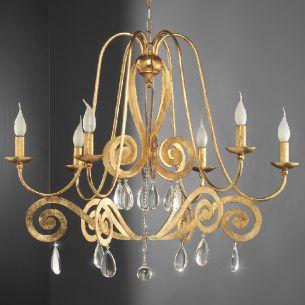 Hochwertiger 6-flammiger Kronleuchter - Handgefertigt - Made in Italy - Eisen - Blattgold - Bleikristallbehang
