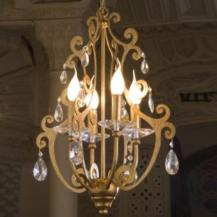 Handgefertigter Kronleuchter - Made in Italy - 4-flammig - Eisen - Blattgold - Bleikristallbehang