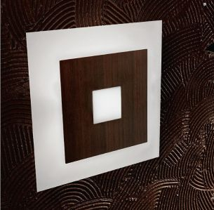 Wandleuchte, Wengeholz und Milchglas, 24,5 x 24,5cm, 1 x 150W, inklusive Leuchtmittel